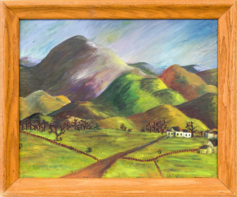 1940s modernist mountain landscape painting, near Gunnison, Colorado with a white farmhouse and out buldings and trees in a meadow/valley with mountains in the background. Painted in a somewhat primitive, modernist style in colors of green, brown,