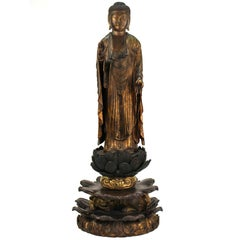 Muromachi Period Japanese Carved and Gilt Wood Buddha Figure Amida Nyorai