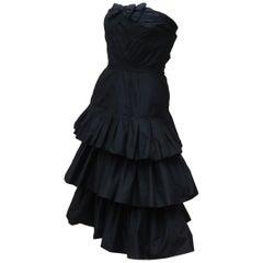 Murray Arbeid Black Silk Taffeta Cocktail Dress