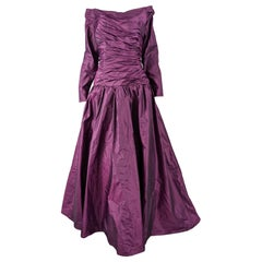 Murray Arbeid Vintage Purple Taffeta Formal Ball Evening Gown, 1980s