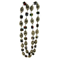 Murrhine Silver Beaded Necklace