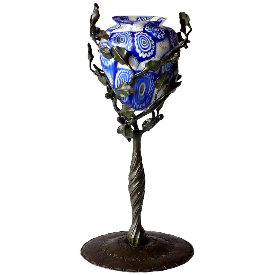 """""""Murrine"""" by  Fratelli Toso 1910 Murano Glass Wrought Iron Art Nouveau Vase"""
