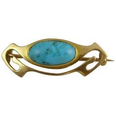 Murrle Bennett & Co. Art Nouveau Brooch, Turquoise, 15 Carat Gold