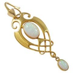 Murrle Bennett & Co. Art Nouveau Celtic Revival 15 Carat Gold and Opal Pendant