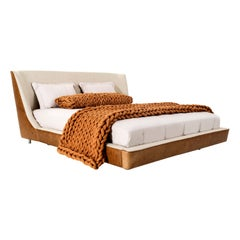 Musa King Bed in Brown Leather and Oatmeal Fabric