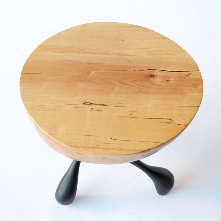 Musashi Side Table, Hand-Carved Sycamore, Cast Aluminum, Jordan Mozer, USA, 2016 For Sale 2