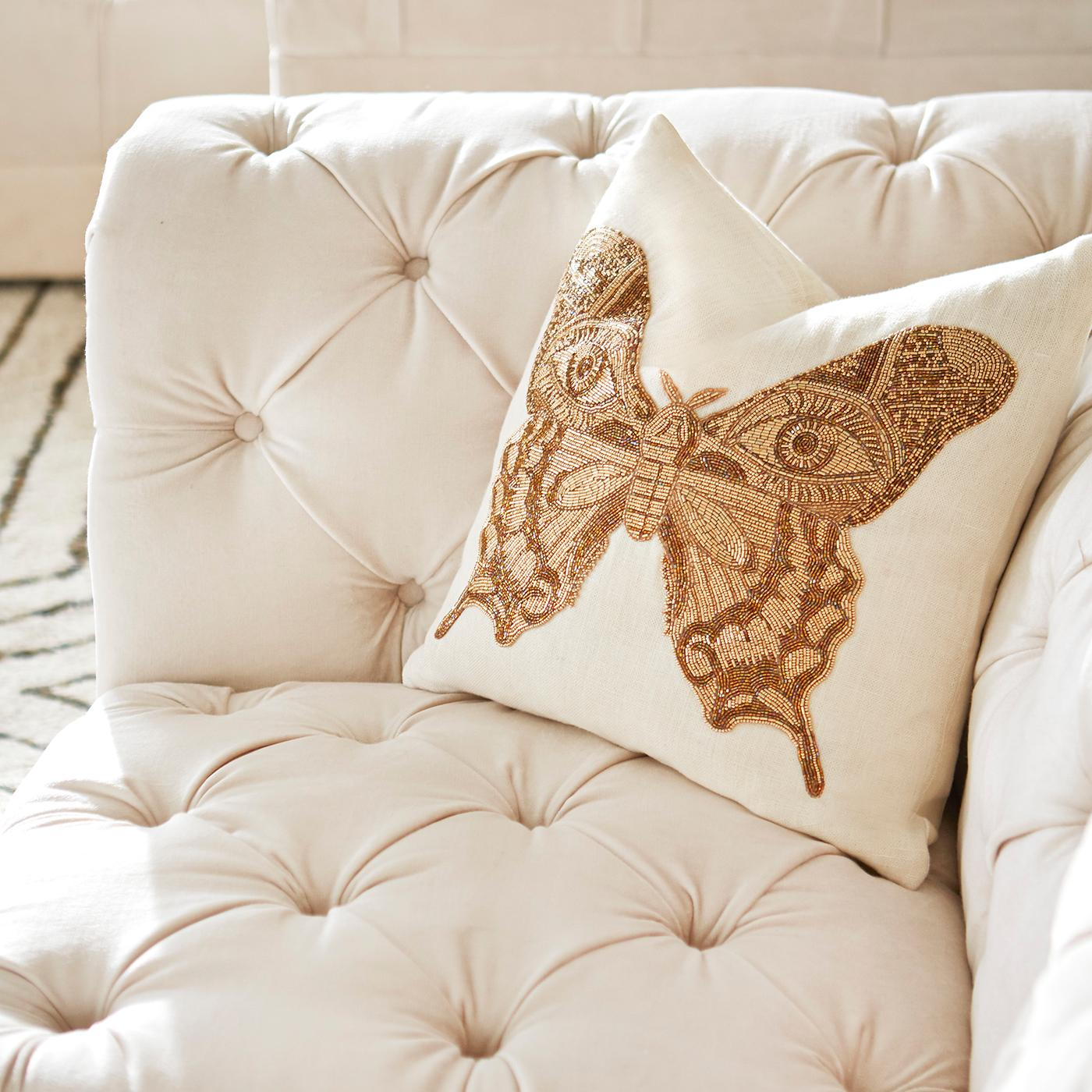 Muse Beaded 'Butterfly' Pillow For Sale