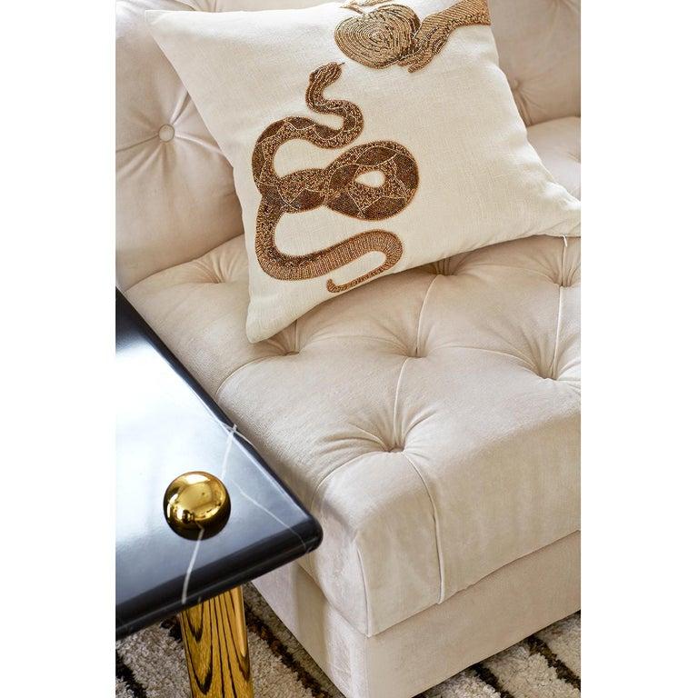 American Muse Beaded 'Snake & Apple' Pillow