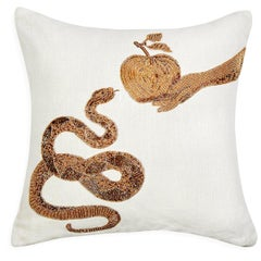 Muse Beaded 'Snake & Apple' Pillow