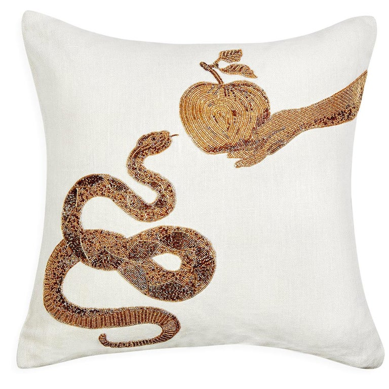 Muse Beaded 'Snake & Apple' Pillow For Sale