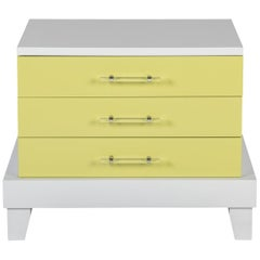 Muse Bedside Table in Verde and Bianca Lacquer by the W.C.C. in Stock