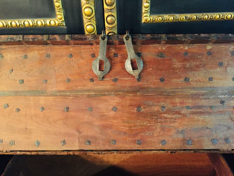 18th Century and Earlier Museale Antique Flat-Top Chest, circa 16th-17th Century For Sale