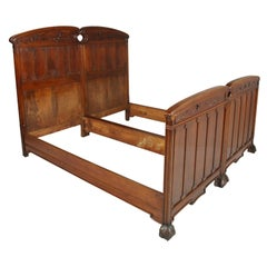 Museum Art Nouveau Pair of Beds, Cadorin Venezia, in Walnut Restored and Waxed