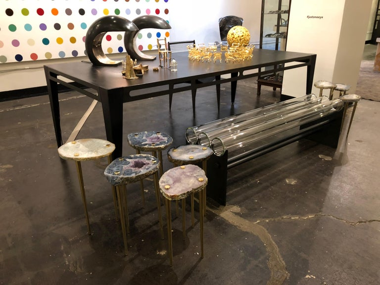 American Museum Bench in glass and steel by Christopher Kreiling For Sale