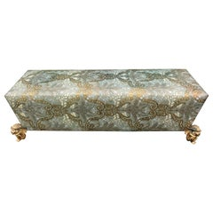 Muséum Bench Sofa by Maison Fey, Cordova Leather, Gilt Bronze Winged Putto Feet