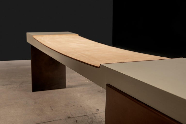 American Museum Bench with Nubuck Suede Seating Bronze Finish Legs by Vivian Carbonell  For Sale