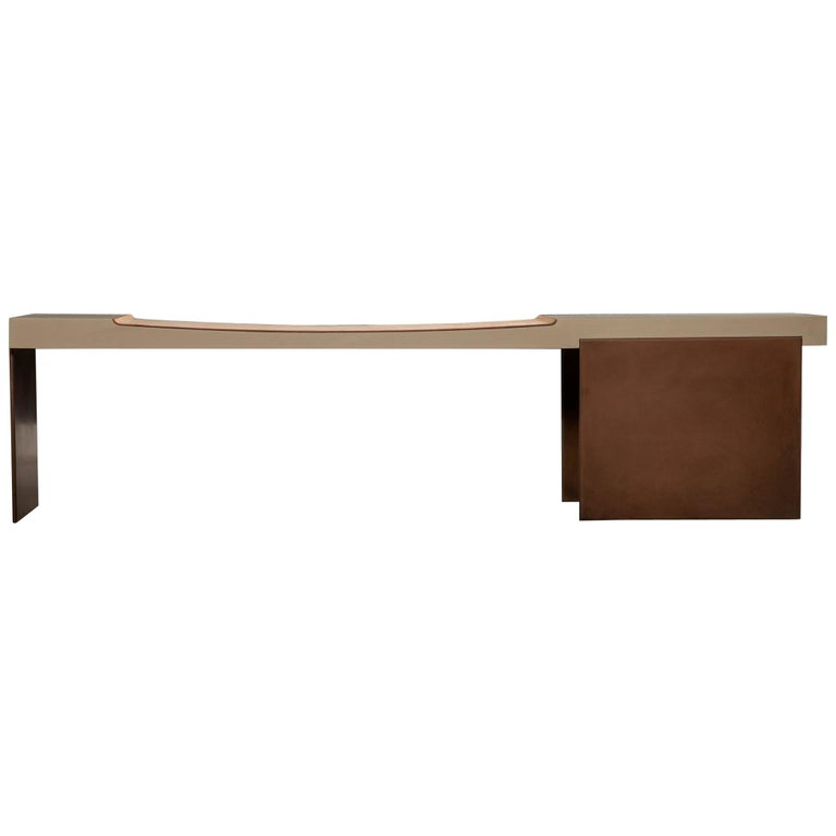 Museum Bench with Nubuck Suede Seating Bronze Finish Legs by Vivian Carbonell  For Sale