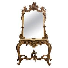 Museum-Class Palace Antique Console with Mirror, Rokoko, circa 1750-1760