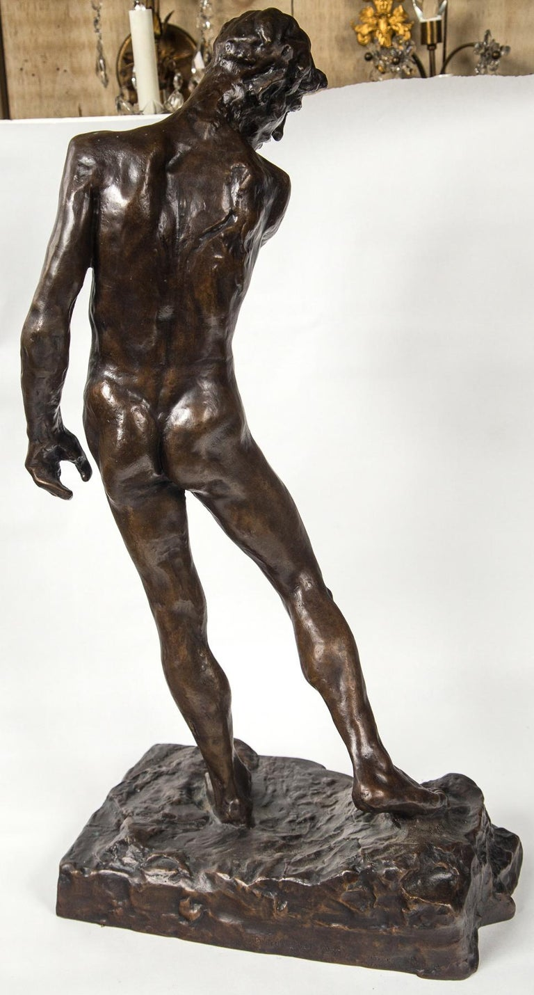 Bronze Museum Copy of a Rodin Sculpture of a Male For Sale