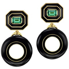 Museum Donut Series Earrings with Tourmalines and Black Jade by Andrew Glassford