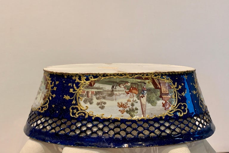 French Museum Enamel Rare Cobalt-Blue Gold Painted Porcelain Jardinière, 18th Century For Sale