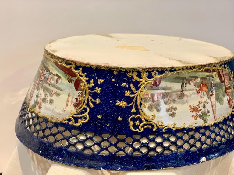 Hand-Painted Museum Enamel Rare Cobalt-Blue Gold Painted Porcelain Jardinière, 18th Century For Sale