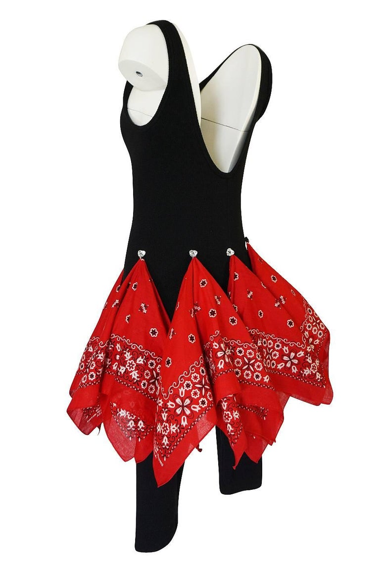 Women's Patrick Kelly Museum Exhibited Bandana Skirted Stretch Jumpsuit, 1989  For Sale