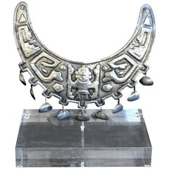 Museum Mounted Grand Tour Inca or Sipan Silver Official Necklace