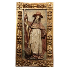 """Museum Piece Carved Panel from 17th Century """"Saint Jerome"""""""