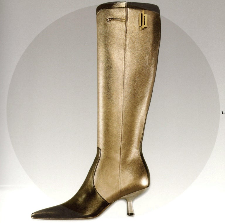 Museum Piece - Gucci by Tom Ford Fall 2000 Two Tone Gold & Bronze Boots 2