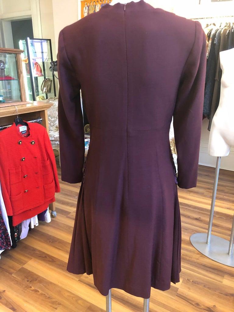 Women's Museum Quality 1940s Jacques FATH  Aubergine Wool Crepe Dress w/Fine details For Sale