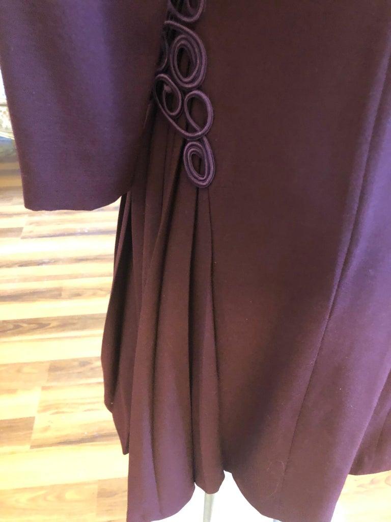 Museum Quality 1940s Jacques FATH  Aubergine Wool Crepe Dress w/Fine details For Sale 1