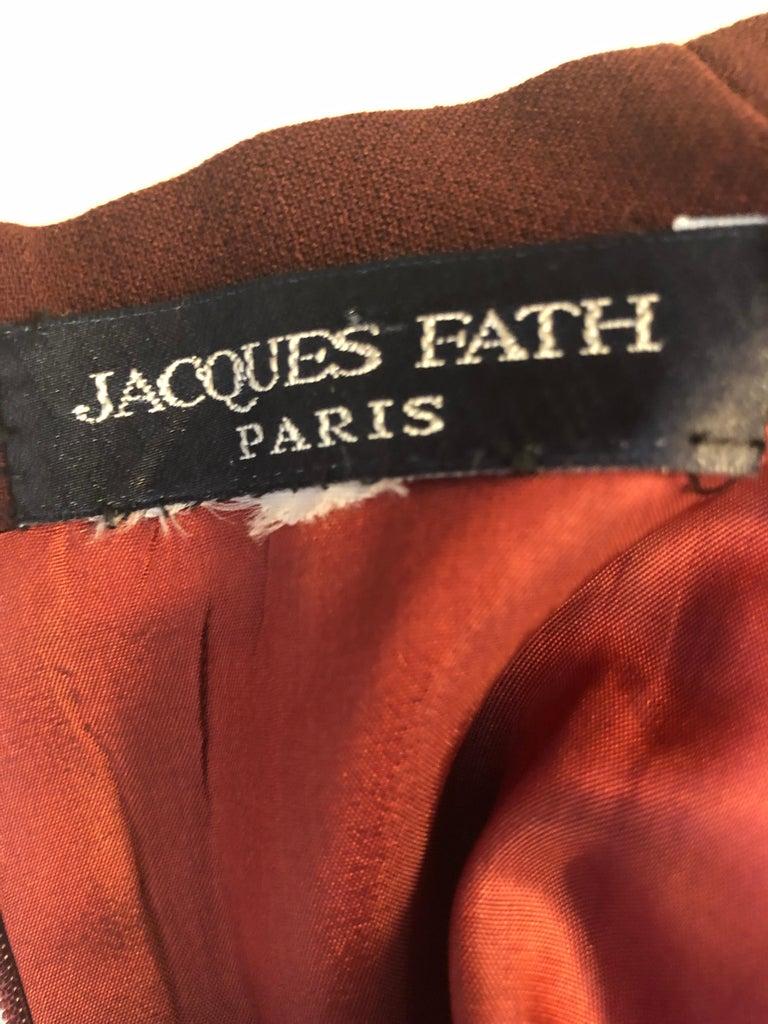 Museum Quality 1940s Jacques FATH  Aubergine Wool Crepe Dress w/Fine details For Sale 3