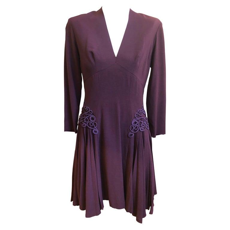 Museum Quality 1940s Jacques FATH  Aubergine Wool Crepe Dress w/Fine details For Sale