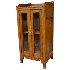 Unique Design Arts & Crafts Drinks Cabinet with Beveled Glass and Brass Handles