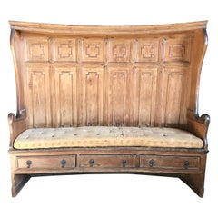 Museum Quality English Georgian Super High Back Tavern Settle or Bench