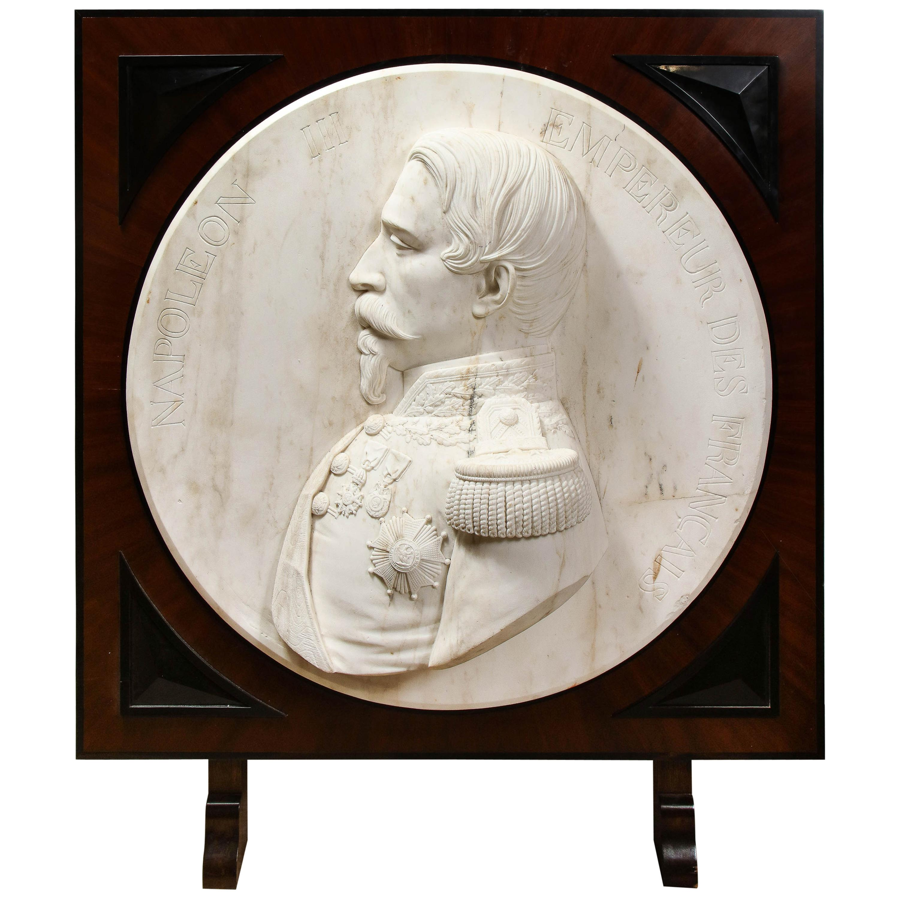 Museum Quality French White Marble Roundel Relief of Emperor Napoleon III, 1860