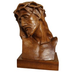 Museum Quality Hand Carved Nutwood Sculpture / Bust of Christ By Louis Sosson