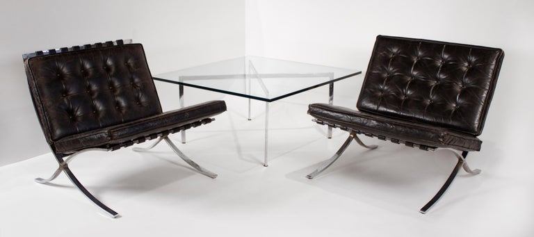 German Museum Quality Ludwig Mies van der Rohe Barcelona Chairs with Table For Sale