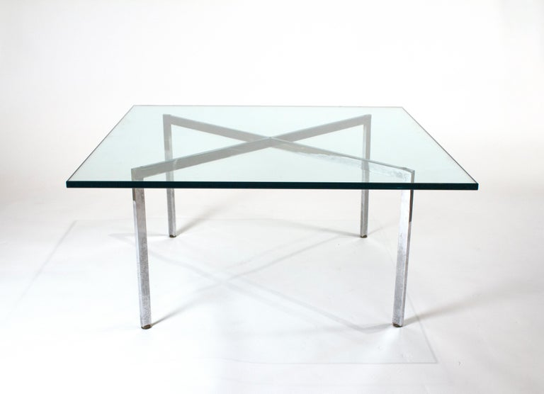 Steel Museum Quality Ludwig Mies van der Rohe Barcelona Chairs with Table For Sale