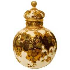 Museum Quality Royal Crown Derby Urn with Raised Gold and Flower Decorations
