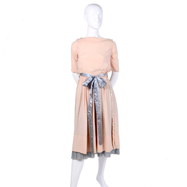 Harry Collins Vintage Blue and Pink Edwardian Dress with Mother of Pearl buttons For Sale 14