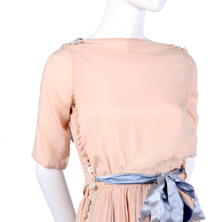 Harry Collins Vintage Blue and Pink Edwardian Dress with Mother of Pearl buttons For Sale 1