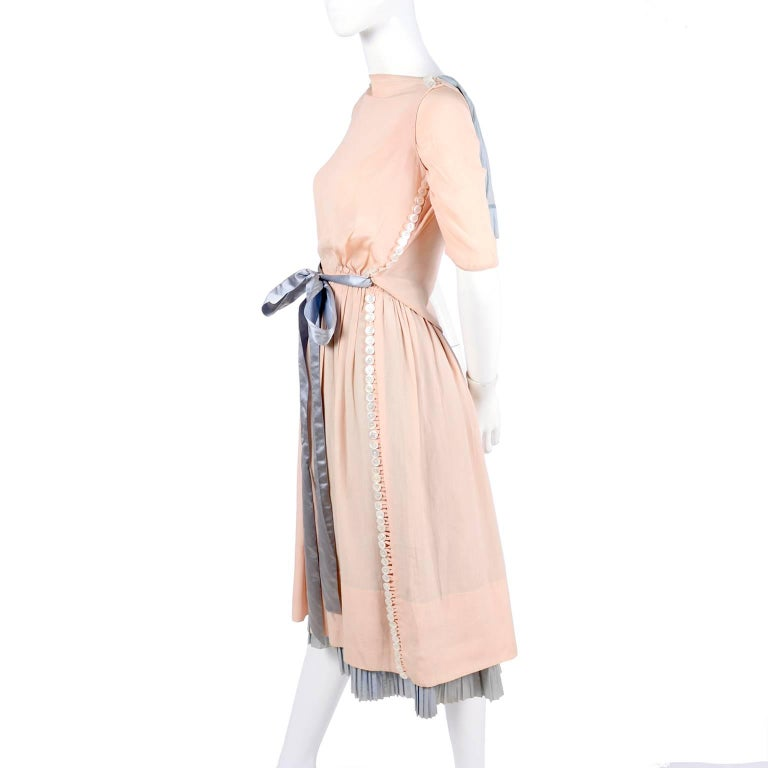 Harry Collins Vintage Blue and Pink Edwardian Dress with Mother of Pearl buttons For Sale 2