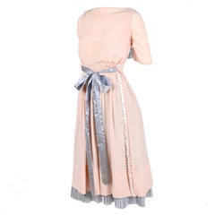 Harry Collins Vintage Blue and Pink Edwardian Dress with Mother of Pearl buttons