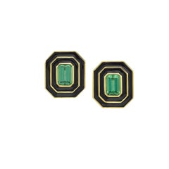 Museum Series Green Tourmaline and Black Enamel Earrings by Andrew Glassford