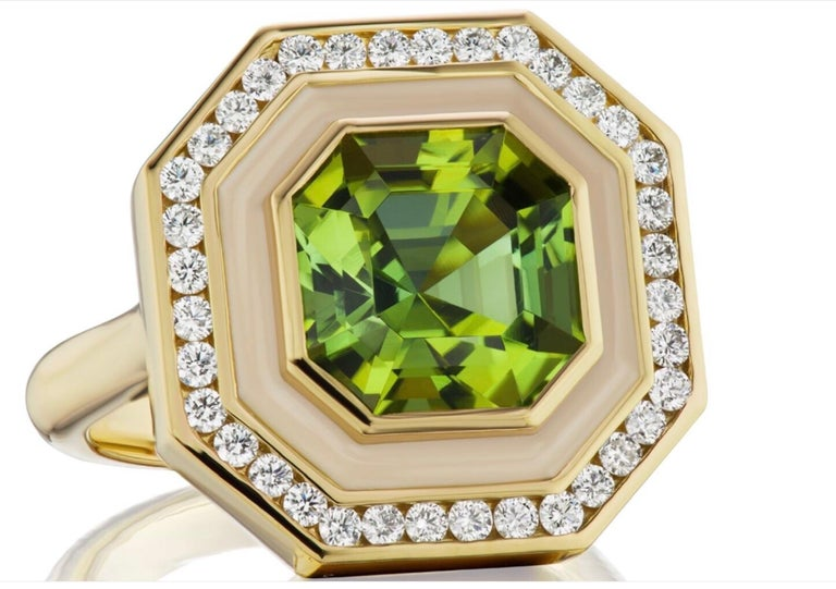 This ring is for a custom order Andrew Glassford Museum Series Ring. It is designed to be set with a beautiful ~5 carat Asscher cut Green Tourmaline. It is a mesmerizing stone that has been set and will be surrounded by ~.50 ctw of GH VSI Diamonds,