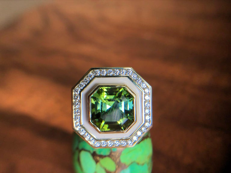 Contemporary Museum Series Green Tourmaline Ring with Diamonds in Enamel for Custom Order For Sale