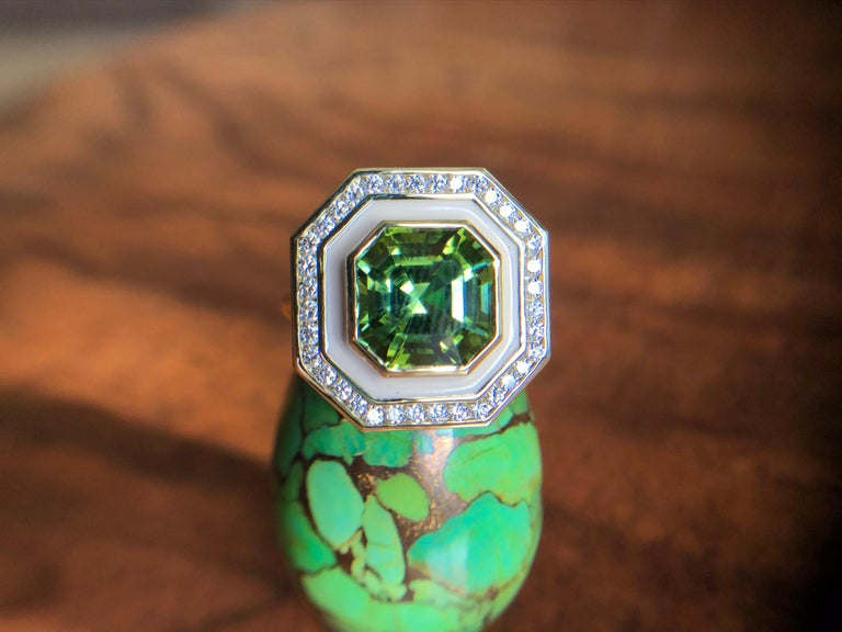 Asscher Cut Museum Series Green Tourmaline Ring with Diamonds in Enamel for Custom Order For Sale