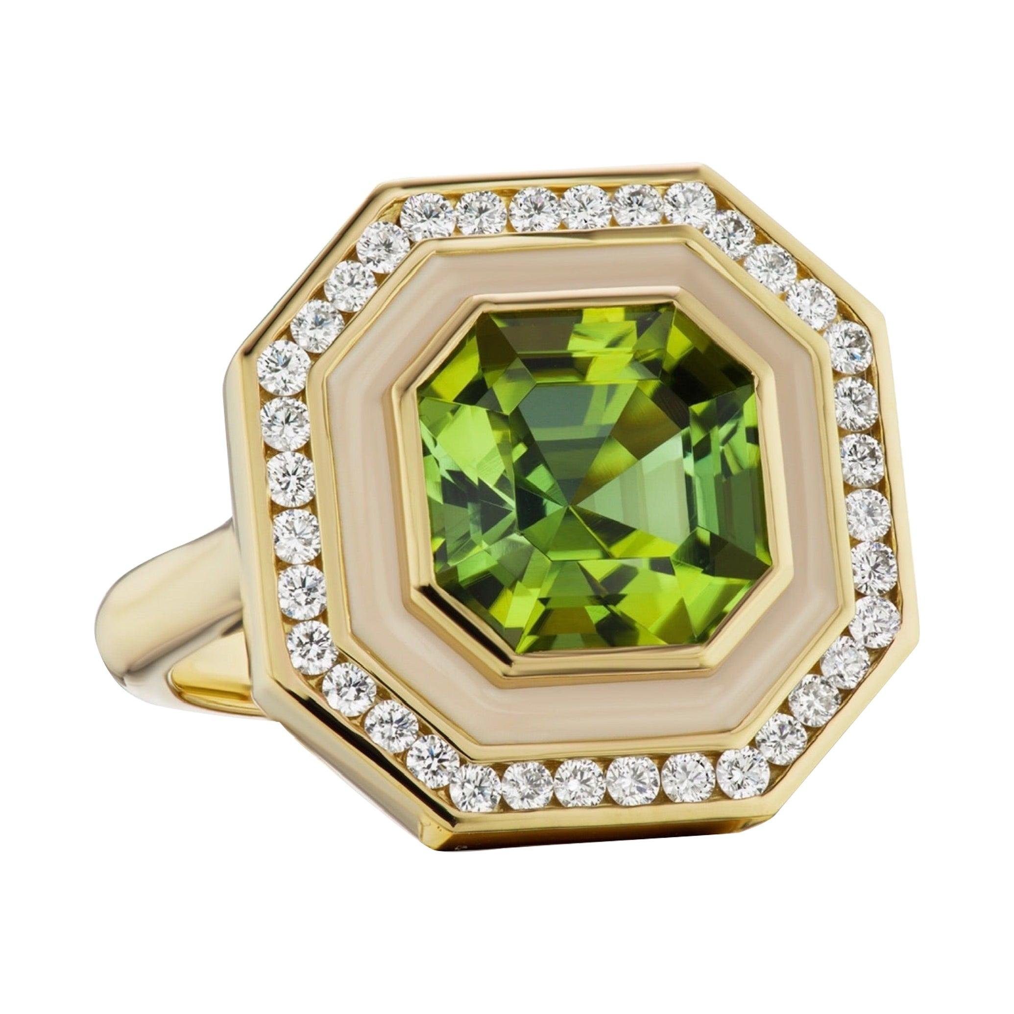 Museum Series Green Tourmaline Ring with Diamonds in Enamel for Custom Order